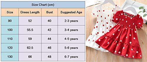 WangsCanis Vestido para niña de 2 a 7 años, de verano, elegante, de princesa, de tul, de manga corta, con lentejuelas, para fiesta de ceremonia, Lunares - Rojo, 3-4 Años