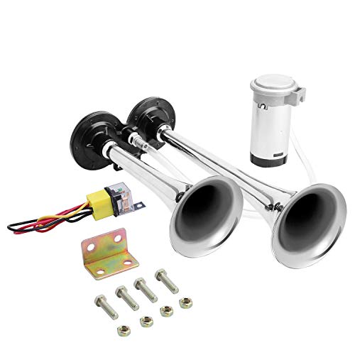 Carfka Train Horn Kit for Truck with Air Compressor, Super Loud 12V Car Electric Trains Horns for Vehicles, Dual Trumpet Air Horn Complete Kits for Easy to Install
