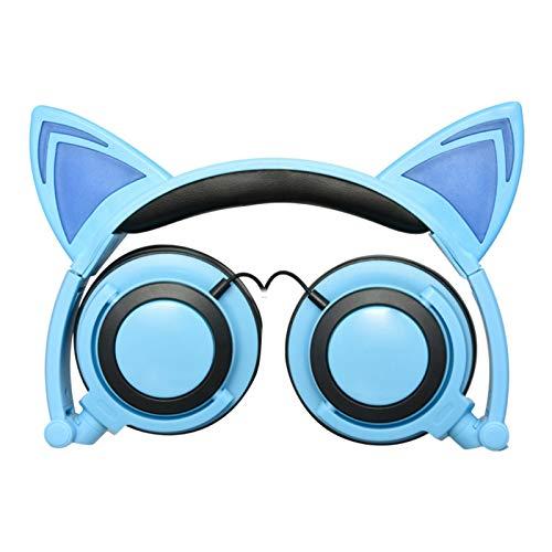 Orejas Gato Dibujos Animados Juegos Auriculares EstéReo para Juegos PC Plegable Juventud Moda,Blue