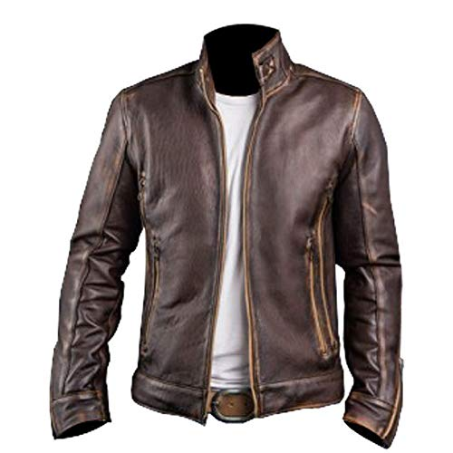 Leatherly Men's Vintage Motorcycle Cafe Racer Retro Moto Distressed Leather Jacket-l