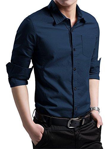 XTAPAN Men's Cotton Slim Fit Casual Long Sleeve Button Down Shirt Navy Blue XL