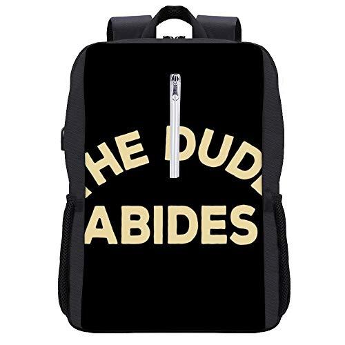 Big Lebowski The Dude Abides Rucksack Daypack Bookbag Laptop Schultasche mit USB-Ladeanschluss