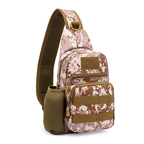 KLFD Tactical Military Chest Bag Sling Bag Water Resistant Shoulder Backpack Mens Daypack with Water Bottle Holder,Desert Camo