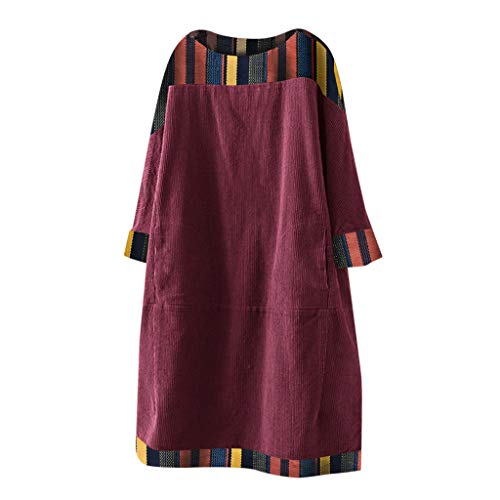 LOPILY Winterkleid Damen Vintage Hippie Blumendruck Tunika Kleid aus Cord Locker Strickkleid Damen Große Größen Skaterkleid Oversize für Mollige Strickpullover Lose Pulloverkleid (Weinrot, 2XL)