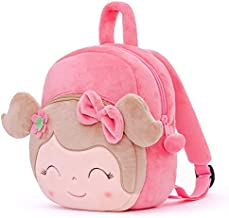 Gloveleya Kids Backpacks for Girls Backpack Plush Bags for Toddler Baby Double Layer Napkins Snack Bag Pink 9 Inches