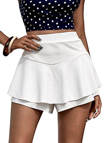Milumia Women's Elastic High Waisted Ruffle Trim Skort Layered Culottes Shorts White Large