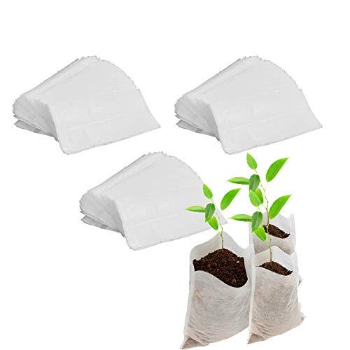 Bolsa Plantas Biodegradable, 300 Piezas Bolsas Vivero No Tejidas, Bolsa Plántulas Tela, Macetas...