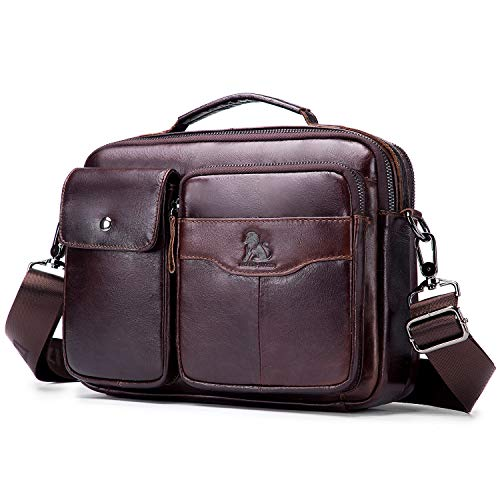 BAIGIO Genuine Leather Shoulder Messenger Bag for Men Horizontal Cross Body Satchel Handbags (Coffee)