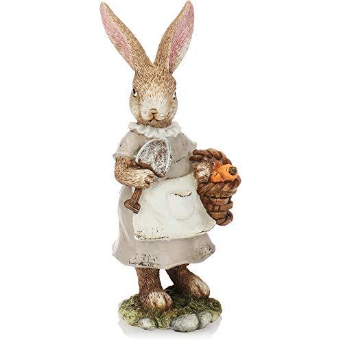 com-four® Deko-Osterhase aus feiner Keramik - kunstvolle Dekofigur zur Osterdekoration - Deko-Hasen als Aufsteller (1 Stück 23cm Frau+Korb)