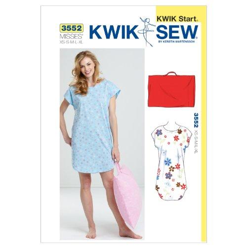 KWIK - SEW PATTERNS K3552 Size Extra-Small - Klein - Medium - Groot - Extra groot Slaap Shirt en Kussensloop, Pack van 1, Wit