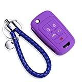 5 Buttons Smart Key Fob Remote Cover Case Keyless Entry Protector Bag Car Key Cover And Car Key Chain Ring for Chevrolet Camaro Cruze Equinox Malibu Orlando Sonic for Buick for Opel (PURPLE)