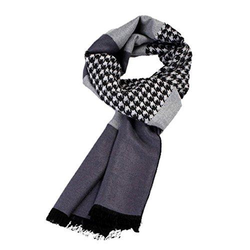 Millya sciarpe alla moda, da uomo, calda sciarpa di seta di flanella autunno inverno sciarpa bandana Grey Taglia unica