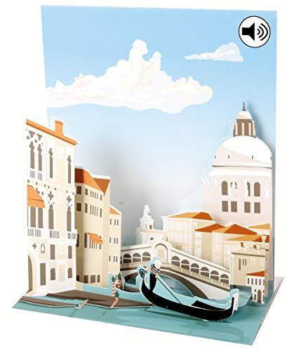Sound Pop Up 3D Karte Kinder Geburtstag Musik Venedig Grachten 18x13cm