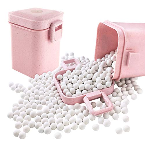 Ceramic Baking Beads Pie Weights Reusable 10mm Natural Pie Beads Ceramic Stoneware with Wheat Straw Container 35 Oz Total (2.2Lb|1000g) (Pink)