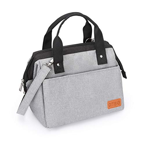 Lunch Bag for Women Men, Insulated Durable Reusable lunch Box with Adjustable Shoulder Strap, Wide-Open Thermal Cooler tote Bag Water Resistant