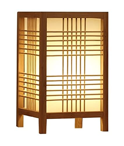 Fine Asianliving Lámpara de Mesa Japonesa Natural - Hokkaido Anch.15 x Prof.15 x Alt.25 cm Lámparas colgantes japonesas Luces japonesas Iluminación shoji japonesas Lámparas de pared