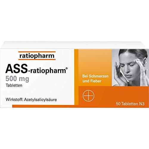 ASS-ratiopharm 500 mg Tabletten bei Schmerzen und Fieber, 50 St. Tabletten