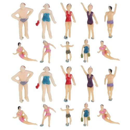 Healifty Personaggi in Miniatura Figure Modello Costume da Bagno Spiaggia Persone Spiaggia Tema Treno Persone Carattere per Giardino Fatato Micro Paesaggio Ornamento 20 Pezzi