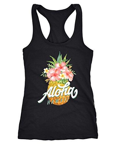 Neverless Damen Tank-Top Ananas Aloha Hawaii Blumen Tropical Paradise Racerback Slim Fit tailliert Baumwolle schwarz XXL