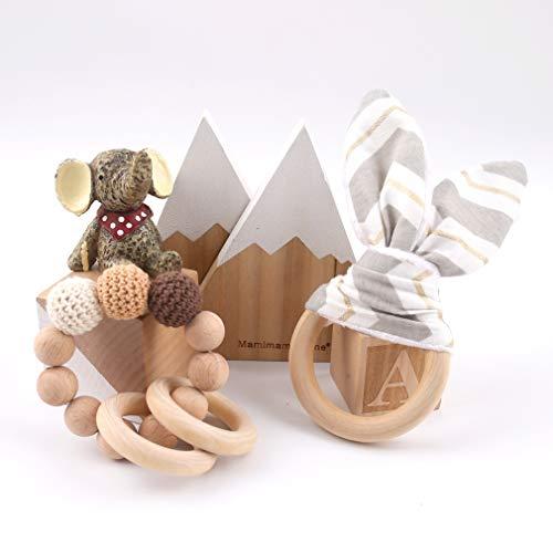 Mamimami Home Bébé en Bois Bracelet de Dentition éco-organique Anneaux Crochet Hêtre en Bois Perles Montessori Hochets Anneau de Dentition Jouets Bébé Douche Cadeau (Beige)