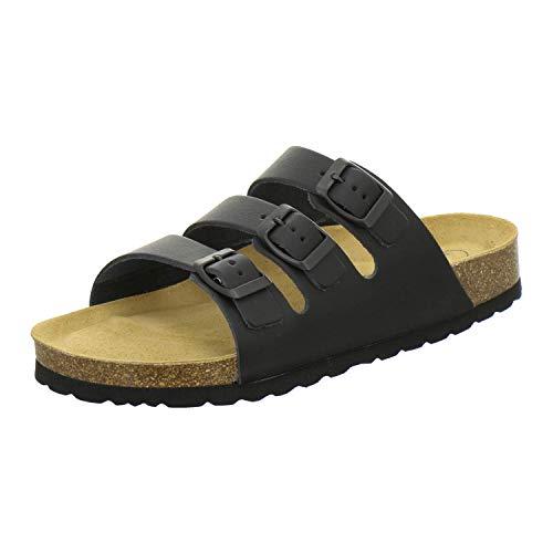 AFS-Schuhe 3133, Bequeme Pantoletten Herren aus Leder, sportliche Sandalen aus Leder, Arbeitsschuhe Made in Germany (43 EU, schwarz)