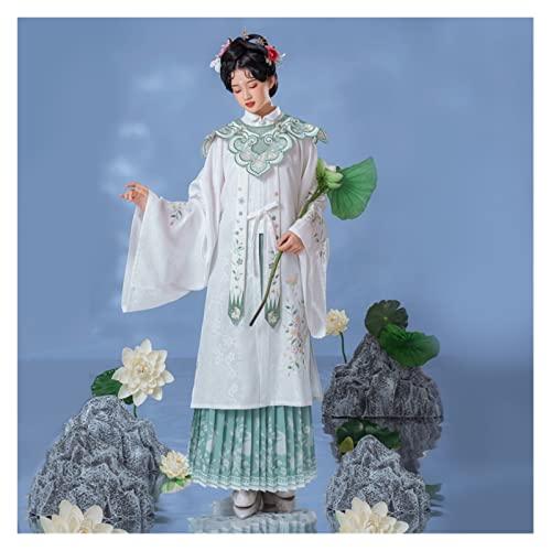 KAITUO De Gatos en Yao Ming Hanfu Femenino Yutu Grano a Cuello Verde Vestido Mandarn 4 Metros Nube de otoo Falda Plisada (Color : Beige, Size : S)