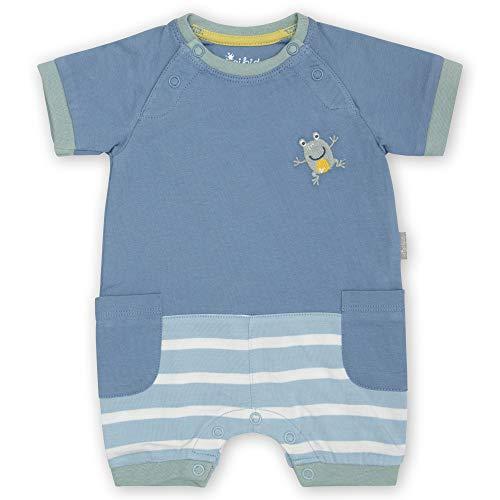 Sigikid Baby-Jungen Classic Bio-Baumwolle für Kinder Overall kurz, Blau/Frosch, 50