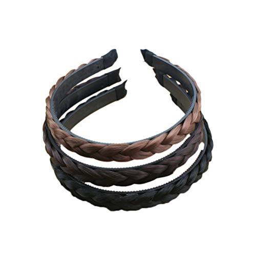 Frcolor Bandeau synthétique tressé cerceau de cheveux fermoir de cheveux Bande de cheveux Accessoires de cheveux pour femmes filles (noir + brun clair + brun foncé)