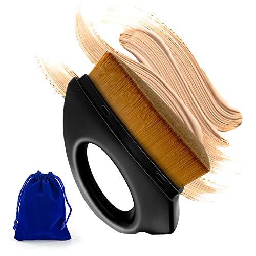 Brocha de Base Líquida Flat Top Para Maquillaje Facial. Pincel Impecable. Funcionamiento Sencillo. Brochas para Maquillaje Sin Solución de Continuidad. Color Negro