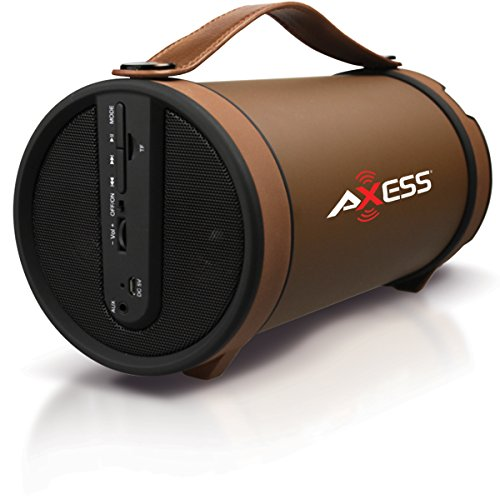 """AXESS SPBT1033 Portable Bluetooth Indoor/Outdoor 2.1 Hi-Fi Cylinder Loud Speaker with Built-In 4"""" Sub and FM Radio, SD Card,  AUX Inputs in Brown"""