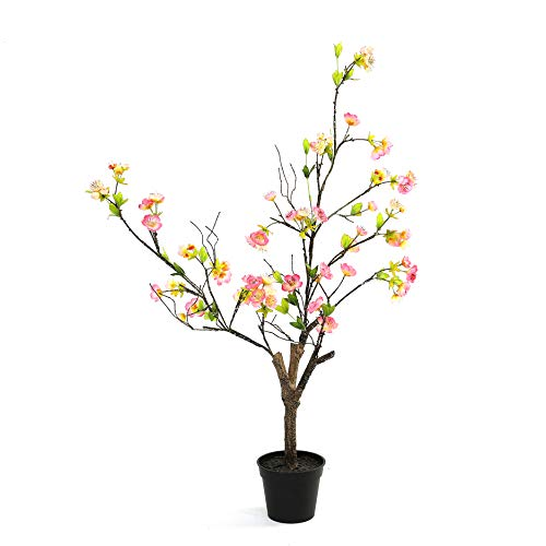 DIIGER Indoor Facu PlantArtificial Sakura Tree35quot TallJapanese Cherry Blossom 1:1 Simulation Floor TreeIndoor Outdoor Fake Plants in Pot for Home Office Perfect Housewarming Gift