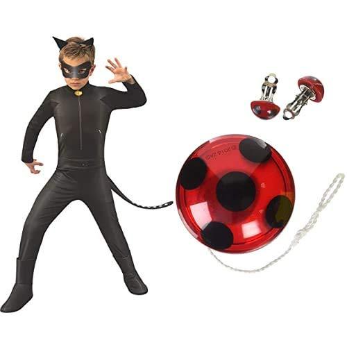 Rubies Ladybug - Disfraz de Cat Noir para nios, talla 5-6 aos (640904-M) + Miraculous Ladybug - Set YO-YO y las pendientes