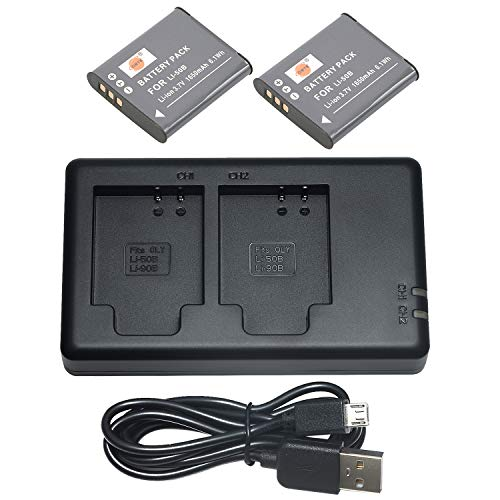 DSTE 2PCS LI-50B(1650mAh/3.7V) Batería + Dual USB Cargador Compatible para...