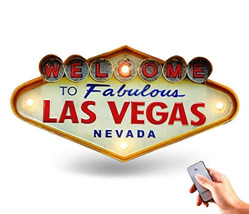Cafe Bar Licht Zeichen, kreativ Retro Wandbehang LED Dekoration- 19''x10'', Glühbirne Nachttischlampe aus Metall mit Fernbedienung (Welcome Las Vegas)