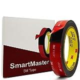 SmartMaster Nastro Biadesivo 3m Nastro di Montaggio Resistente All'acqua Extra Forte, (20 mm x 3 m) Nastro in Schiuma 3m VHB Per Auto, Ufficio, Decorazioni Per la Casa, Faro LED Esterno