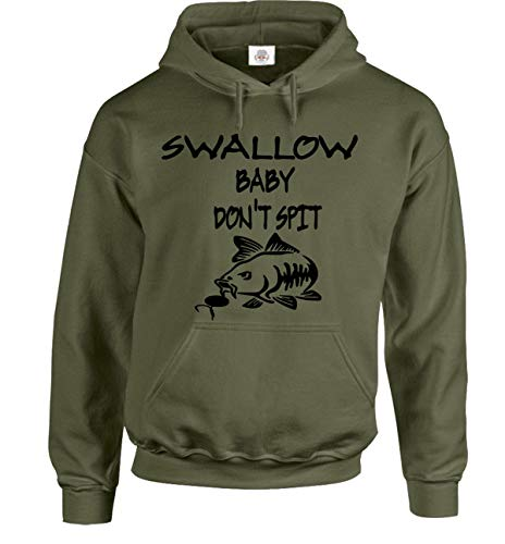 Fishing Carp Swallow Baby Don't Spit Hoodie Gifts for Men Fishermen Angling Clothing Hoody (L) Military Green