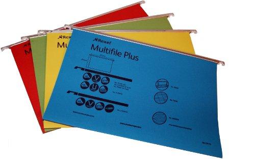 Rexel Multifile Plus - Confezione da 20 cartelle sospese, A4, 15 mm, colori assortiti