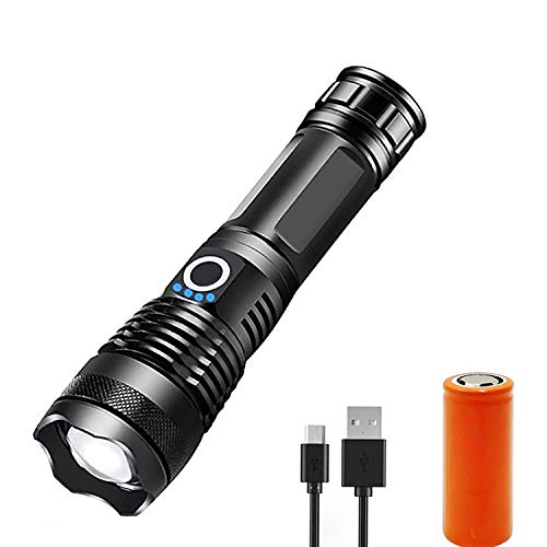 5000 Lumen Rechargeable Tactical Flashlight,XHP50 LED for Hiking Hunting Camping Emergency Outdoor Sport(Include 26650 Battery)