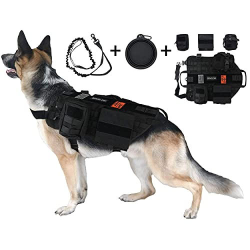 Dog Tactical Harness, 1000D Nylon Molle Vest with Leash, 3 Pouches, 3 Patches, Collapsible BPA Free Bowl, Black Large