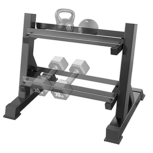 THERUN 2 Tier Dumbbell Rack with Reverse Installation, Weights Plates Kettlebells Weight Sets Stand, Adjustable Dumbbell Holder Storage for Home Gym (Rack Only)
