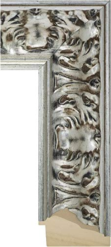 Ramendo Holz-Bilderrahmen Medici - Florentiner Silber, verziert, antik - 83 mm, Museumsglas Clarity AR99 im Format 60x70 cm online bestellen