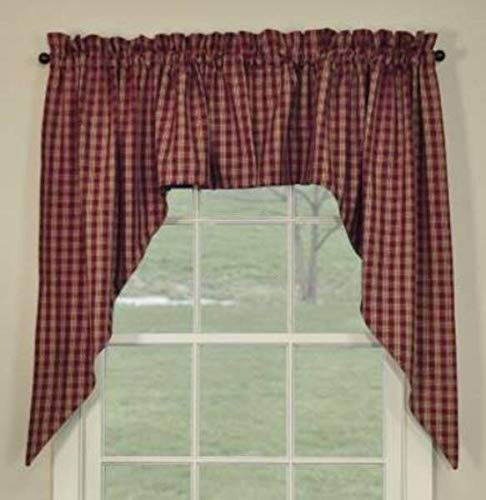 MIABE Cutarins Supplies for Wine Sturbridge Swag Curtains Primitive Country Plaid Farmhouse Window 72Wx36L for Windown Decor, Home Decor