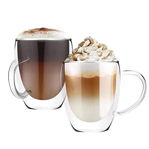 [6 unidades, 12 onzas]Diseño• MASTER-Premium doble pared aislante vidrio con asa, tazas de café o té, vidrio térmico aislado, perfecto para latte, capuchino, americano y té
