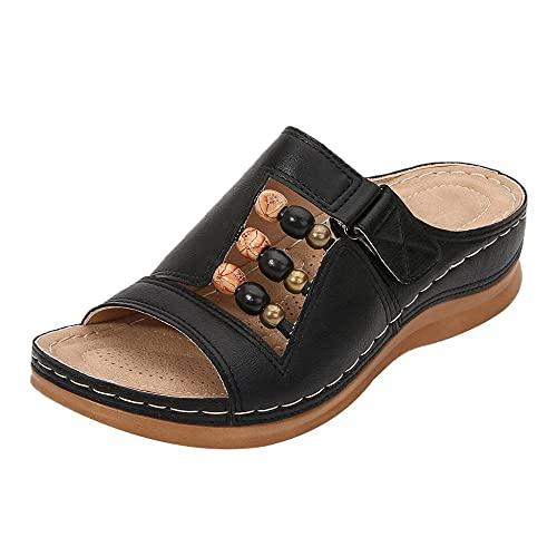 ypyrhh Verano Antideslizante Sandalias,Zapatillas Casuales de Cabeza Redonda de Gran tamaño,Pendiente de Fondo Grueso con Zapatillas-Negro_37,Sandalias de Talón Abierto para Mujer