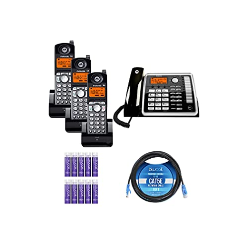 Motorola ML25260 2-Line Corded Phone with Full Duplex Speakerphone & Caller ID Call Waiting Bundle with 3-Pack of ML25055 DECT 6.0 Cordless Handsets, Blucoil 10  Cat5e Cable, and 10 AAA Batteries