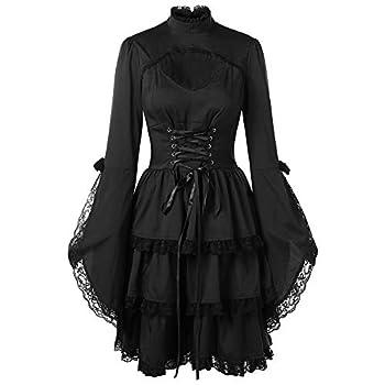 Women s Dresses Venfamo Flare Sleeve Lace Patchwork Gothic Lolita Little Black Dress