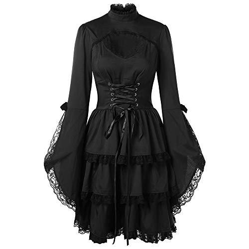 Setsail Damen Langärmliges Spitzenkleid aus Trompetenärmel Korsage Kleid Steam Punk Gothic Magic Mistress Teufelchen Halloween Cosplay (Schwarz, M)