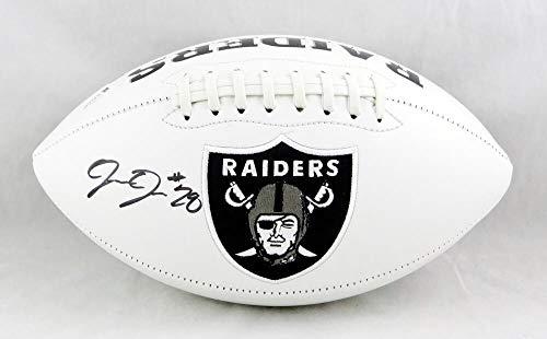 Josh Jacobs Autographed Oakland Raiders Logo Football- Beckett Auth Black