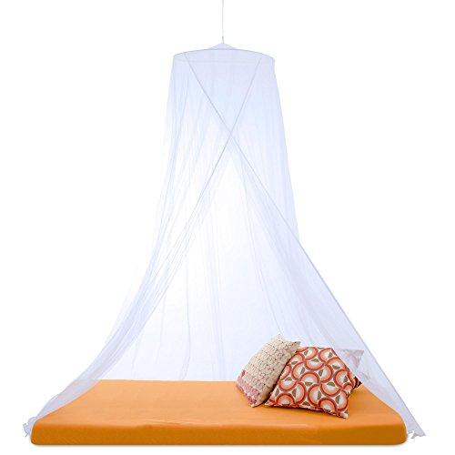 Sumkito Moskitonetz Einzelbett weiß Mückennetz rund Bettvorhang 1 Eingang Insektenschutz