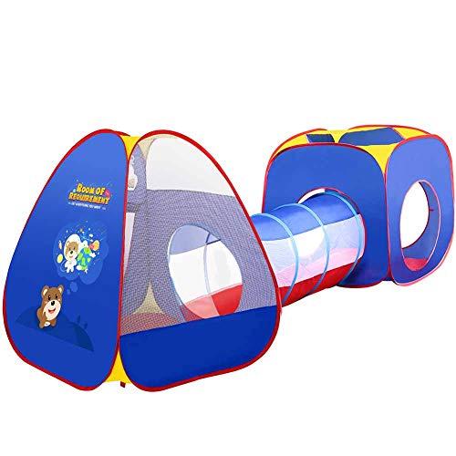 3 in 1 Pop-Up Play Tent Tunnel Met 1 Tunnels / 1 Triangle Tenten / 1 Vierkante Luifel Voor Binnen- En Buitengebruik - Blue